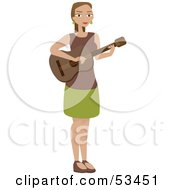 Royalty Free RF Clipart Illustration Of A Woman Standing And Playing A Guitar by mheld