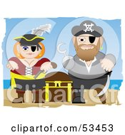 Royalty Free RF Clipart Illustration Of A Tough Pirate Couple Guarding Their Treasure Chest by mheld