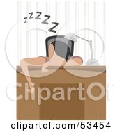 Royalty Free RF Clipart Illustration Of A Man Or Woman Sleeping Over Their Desk by mheld