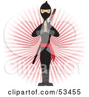 Royalty Free RF Clipart Illustration Of A Ninja Standing With His Hands Pressed Together In Front Of A Red Burst by mheld #COLLC53455-0107