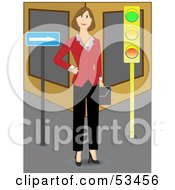 Royalty Free RF Clipart Illustration Of A Successful Businesswoman Standing At A Corner Waiting To Cross A City Street by mheld