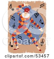 Royalty Free RF Clipart Illustration Of A Grungy Masked Entertainer Dancing Around Music Notes by mheld