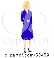Royalty Free RF Clipart Illustration Of A Friendly Blond Business Woman In A Blue Skirt And Jacket Carrying Coffee by mheld