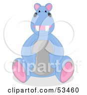 Happy Blue Hippo Stuffed Animal Sitting Upright