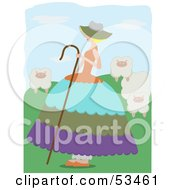 Royalty Free RF Clipart Illustration Of Little Bo Peep Watching Over Her Sheep In The Hills by mheld