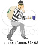 Royalty Free RF Clipart Illustration Of A Bandit Sneaking Around And Shining A Flashlight