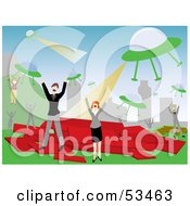 Royalty Free RF Clipart Illustration Of Men And Women Screaming And Fleeing From An Alien Attack by mheld