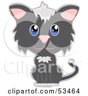 Royalty Free RF Clipart Illustration Of An Innocent Gray And White Kitty Cat With Big Blue Eyes