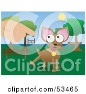 Royalty Free RF Clipart Illustration Of A Lecturing Finger Pointing At A Chihuahua Dog In A Park