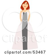 Royalty Free RF Clipart Illustration Of A Friendly Red Haired Bridesmaid Standing In Her Dress by mheld