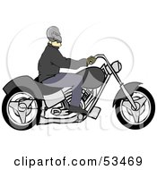 Royalty Free RF Clipart Illustration Of A Biker Wearing A Skull Helmet And Riding A Motorcycle
