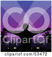 Royalty Free RF Clipart Illustration Of A Silhouetted Dj And A Dance Party On A Beach At Night Under A Purple Sky