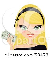 Royalty Free RF Clipart Illustration Of A Friendly Blond Woman Wearing A Black Headband And Holding Up Cash
