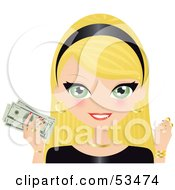 Royalty Free RF Clipart Illustration Of A Green Eyed Blond Haired Woman Wearing A Black Headband And Holding Gold Coins And Cash