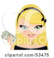 Royalty Free RF Clipart Illustration Of A Blond Woman With Green Eyes Wearing A Black Headband And Holding Up Cash