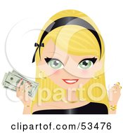 Royalty Free RF Clipart Illustration Of A Blond Woman Wearing A Black Headband Holding Gold Coins And Cash