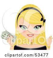 Royalty Free RF Clipart Illustration Of A Pretty Blond Woman Wearing A Black Headband Holding Gold And Banknotes