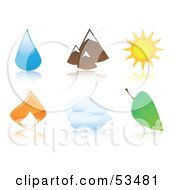 Royalty Free RF Clipart Illustration Of A Digital Collage Of Shiny And Colorful Icons Water Drop Mountains Sun Fire Cloud And Leaf