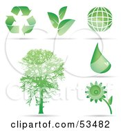 Royalty Free RF Clipart Illustration Of A Digital Collage Of Ecology Icons Recycle Arrows Plants Globe Water Flower And Tree