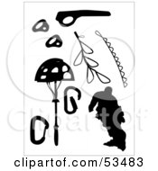 Royalty Free RF Clipart Illustration Of A Digital Collage Of Black Silhouetted Mountain Climbing Gear And A Climber by David Barnard