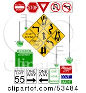 Royalty Free RF Clipart Illustration Of A Digital Collage Of Multiple Street Signs On White