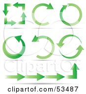 Royalty Free RF Clipart Illustration Of A Green Ecology Arrows In Squares Circles Half Circles And Straight