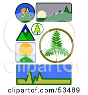 Royalty Free RF Clipart Illustration Of A Digital Collage Of Mountain Logo Icons by David Barnard