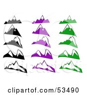 Royalty Free RF Clipart Illustration Of A Digital Collage Of Black Purple And Green Mountains With Snow by David Barnard