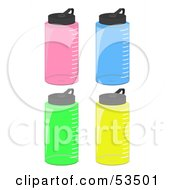 Royalty Free RF Clipart Illustration Of A Digital Collage Of Pink Blue Green And Yellow Water Bottles
