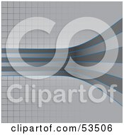 Royalty Free RF Clipart Illustration Of Blue And Gray Curved Lines On A Grid Background