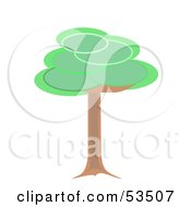 Royalty Free RF Clipart Illustration Of A Healthy Mature Tree With A Brown Trunk And Green Circle Foliage