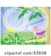 Royalty Free RF Clipart Illustration Of A Happy Purple Bird Perched In A Tree At Sunrise