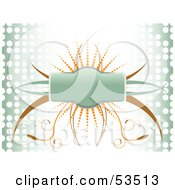 Royalty Free RF Clipart Illustration Of A Green Badge With Orange And Brown Vines And Dots On A Background With Halftone