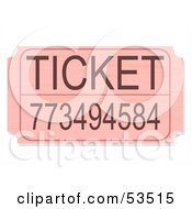 Royalty Free RF Clipart Illustration Of A Pink Raffle Ticket With A Number by David Barnard