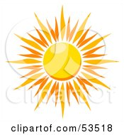Royalty Free RF Clipart Illustration Of A Bursting Hot Summer Sun With Orange Rays