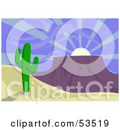 Royalty Free RF Clipart Illustration Of A Cactus On A Sandy Hill Near A Rock Formation In A Desert