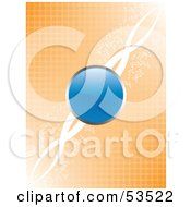 Royalty Free RF Clipart Illustration Of A Glossy Blue Button Centered Over An Orange Halftone Background With White Twists by David Barnard