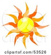 Hot Summer Sun With Waving Orange Rays