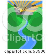 Royalty Free RF Clipart Illustration Of A Sun Shining Over A Blue River Winding Through A Green Valley by David Barnard
