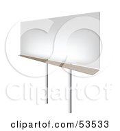Royalty Free RF Clipart Illustration Of An Angled View Of A Blank Billboard Sign On Stilts