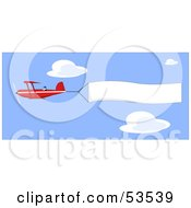 Red Biplane Flying High In A Blue Sky A Banner Flapping Behind