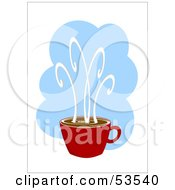 Royalty Free RF Clipart Illustration Of A Red Coffee Cup With Steam Shooting Off Of The Surface
