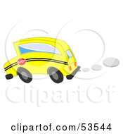 Royalty Free RF Clipart Illustration Of A Speeding Yellow School Bus With Exhaust