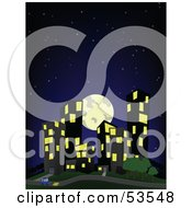 Royalty Free RF Clipart Illustration Of A Full Moon And Dark Starry Sky Over City Buildings