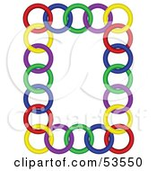 Royalty Free RF Clipart Illustration Of A White Vertical Background Bordered In Colorful Rings by David Barnard
