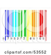 Royalty-Free (RF) Clipart Illustration of a Rainbow Colored Barcode And Numbers by David Barnard