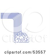 Royalty Free RF Clipart Illustration Of An Abstract Lined Waterfall Crashing Downwards Into Bubbles On White