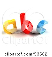 Royalty Free RF Clipart Illustration Of A Yellow A Red B And Blue C In 3d Angle 2