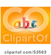 Royalty Free RF Clipart Illustration Of Colorful 3D ABC Letters On Orange