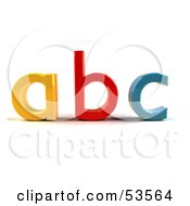 Royalty Free RF Clipart Illustration Of A Yellow A Red B And Blue C In 3d Angle 1